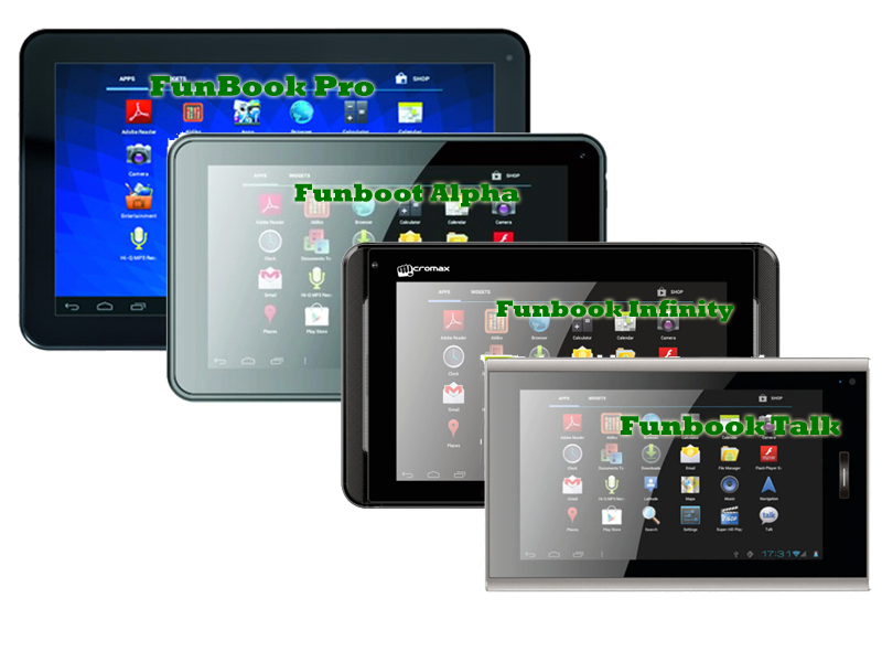 Micromax Funbook, Funbook Alpha, Funbook Pro, Funbook Infinity and Funbook Talk - Comparison, Pros and Cons