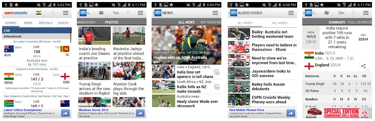 ESPN Cricinfo App -Best IPLT20 2013 Live Cricket Apps For Android & iOS Phones- Top 5