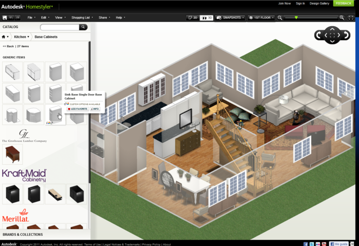 Homestyler is a well detailed tool to create walls Free house plan software