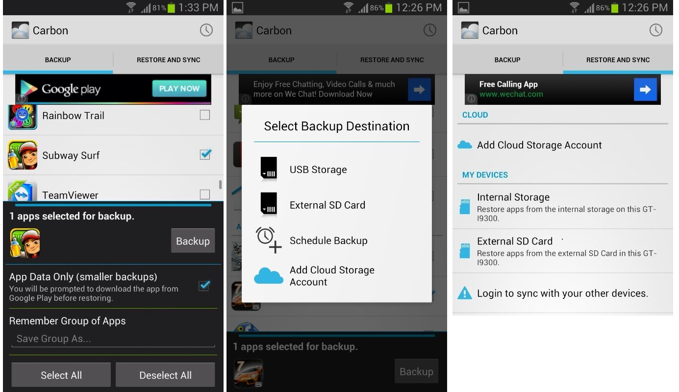 How to Backup Android apps and data without root - Helium aka carbon backup