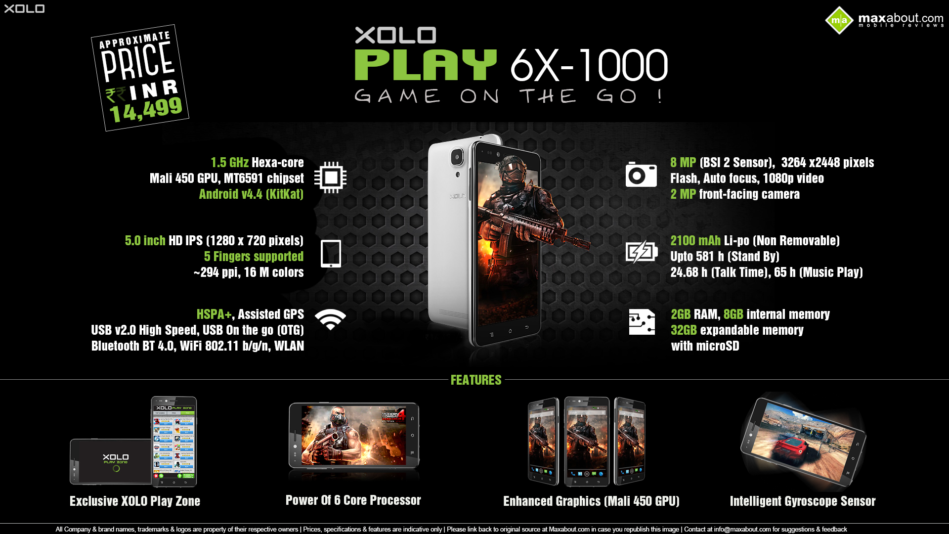 XOLO-Play-6X-1000-Hexa Core with 2GB RAM and 8MP camera